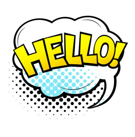 Comic lettering Hello. Comic speech bubble with emotional text Hello. Vector bright dynamic cartoon illustration in retro pop art style isolated on white background. Comic text sound effects.