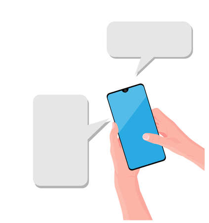 Mobile phone in the hand. Hand is holding black smartphone. Finger touching screen. Speech bubbles copy space. Vector illustration, white background.
