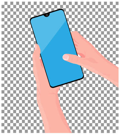 Mobile phone in the hand. Hand is holding black smartphone. Finger touching screen. Vector illustration, transparent background.