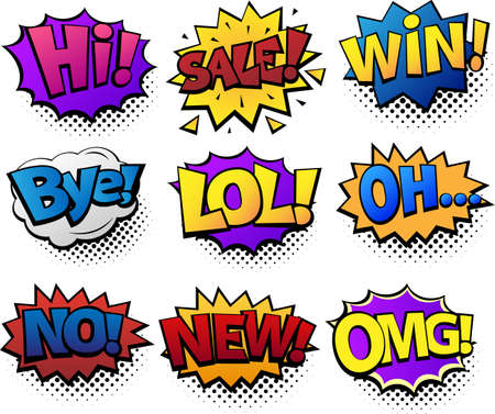Comic speech bubbles set with different emotions and text Hi, Sale, Bye, LoL, Win, Oh, No, New, OMG. Bright dynamic cartoon illustration in retro pop art style isolated on white background. Stockfoto