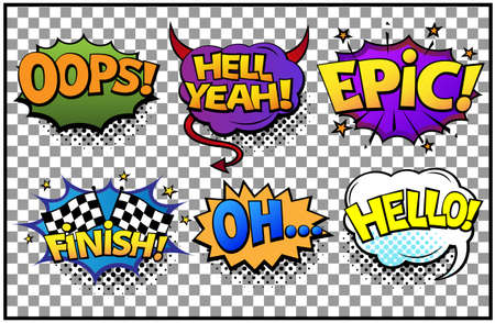 Comic speech bubbles set with different emotions and text Oops, Hell Yeah, Finish, Oh, Hello. Vector bright dynamic cartoon illustrations in retro pop art style isolated on transparent background. Vecteurs