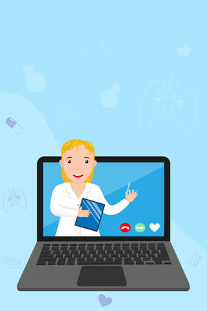 Doctor online on your laptop. Online medicine, consultation and diagnosis concept. Woman therapist via smartphone. Web banner for medical app. Ask doctor online. Help and support. Vector illustration. Ilustrace