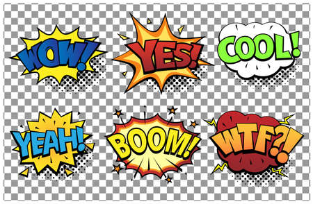 Comic speech bubbles set with different emotions and text Wow, Yes, Cool, Yeah, Boom, Wtf. Vector bright dynamic cartoon illustrations in retro pop art style isolated on transparent background.