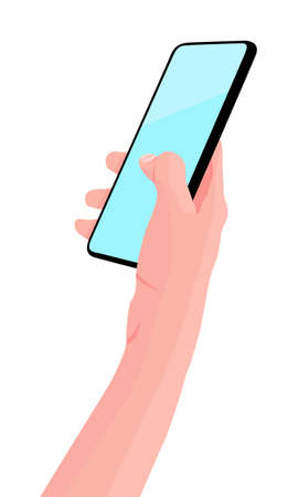 Mobile phone in the hand. Woman holds black smartphone. Finger touching screen. Copy space for your text. Vector illustration, white background. 向量圖像