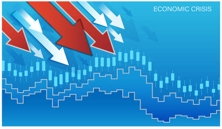 The global economic and financial crisis. Graph of falling stock prices, currency fluctuations. Red and white arrows head down. Decrease in the financial value of companies. Vector illustration