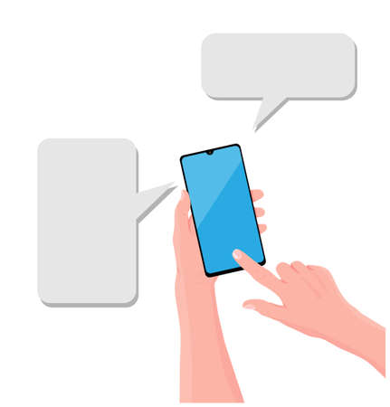 Hand is holding black smartphone with speech bubbles 免版税图像