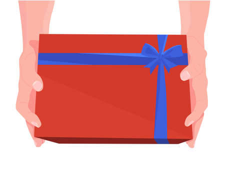 Gift box in hands. Valentines Day. Christmas and New Year. Two hands hold surprise, present. Cartoon flat illustration. Vector illustration