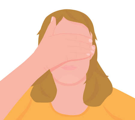 Vector illustration of young woman with closed eyes by her hands. Vector illustration isolated on white background.