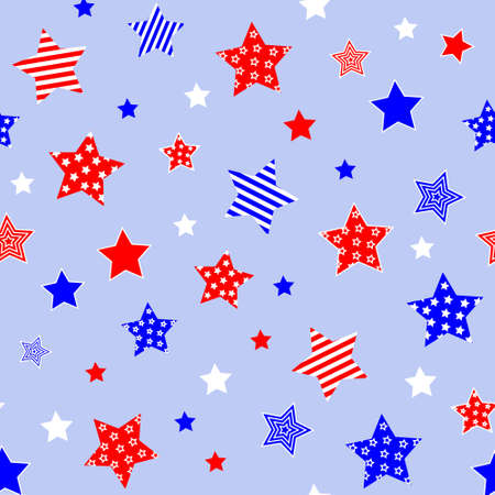Red blue white stars on light blue background. Independence day 4th July colors. Seamless pattern. Vector illustration.