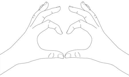Hands show heart shape gesture. Hand drawn vector line art illustration. Sketch