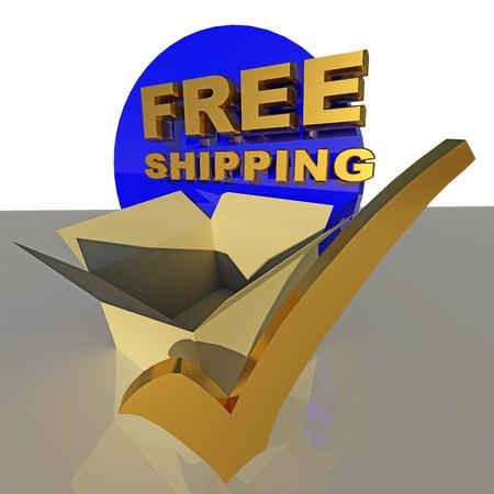 tick box: free shipping blue tick box Stock Photo