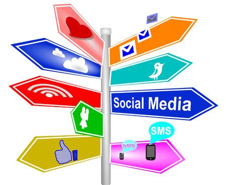 couleurs des signes de médias sociaux Banque d'images