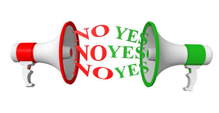 yes no: megaphones red green, yes no