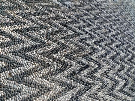 mosaic floor zig zag details black and white photo