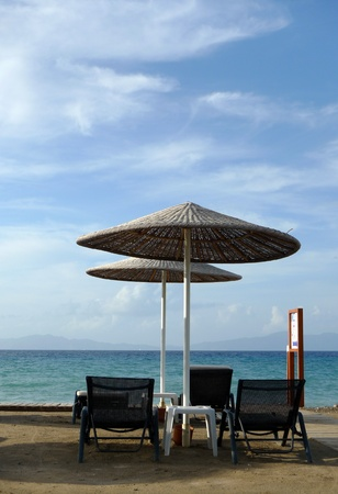 view from the cabana on a greek beach Stock Photo - 9058417