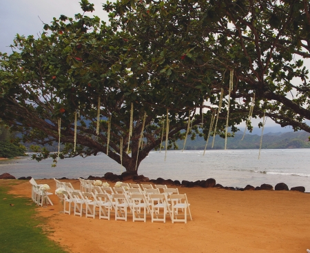 wedding set up on a beach at dusk Imagens