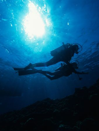 Diver Sun burst Stock Photo - 258415