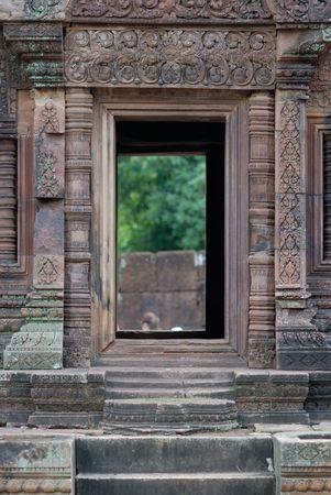 Temple Details, Angkor, Cambodia Фото со стока