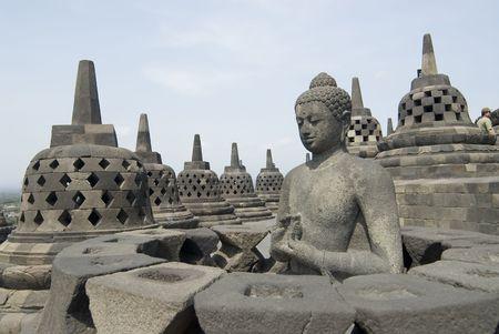 stupas: Borobudur Temple in Java, Indonesia Stock Photo