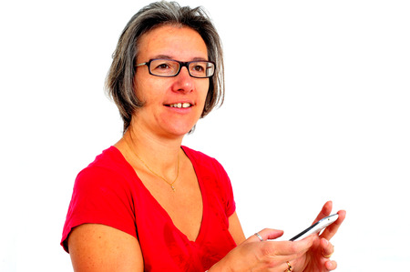 A Woman in red t shirt on smartphone in studio photo