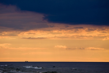 Ship silhouette on the baltic sea