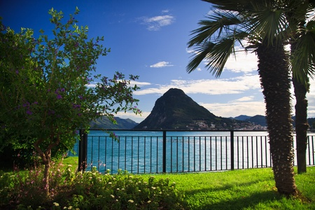 View of Lugano lake in summer,  Switzerland Stock Photo