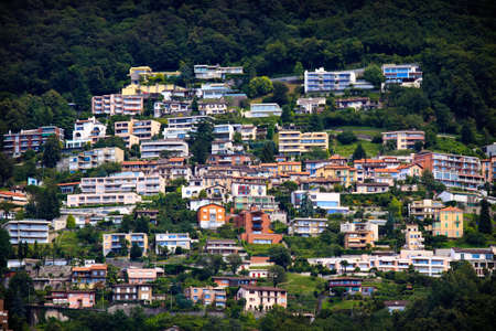 Lugano city hoses on the hill