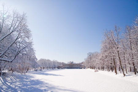 Snowy Warsaw park - view on the Palace on the Water,  Lazienki photo