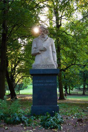 dramatist: Cyprian Kamil Norwid statue in Warsaw Lazienki park Stock Photo