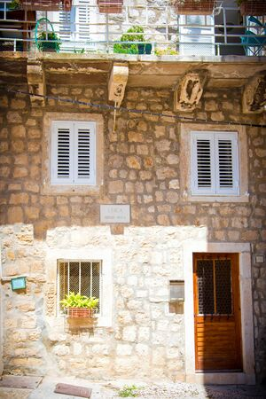 Sunny Dubrovnik street in the Old Town Stock Photo