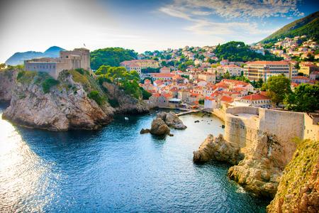 Uitzicht op de Dubrovnik kustlijn Stockfoto