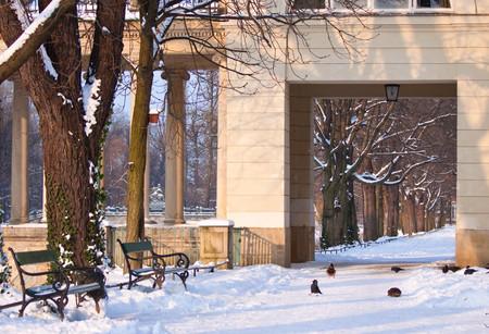Snowy path in Warsaw park Lazienki