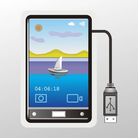 an illustration of a smartphone, on the desktop which displays a picture of the lake, and the usb cable is connected to the smartphone.