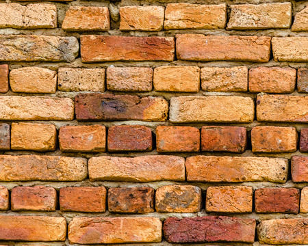 brick texture: Detail of a traditional wall of a house   in Transylvania, made with clay bricks.   Brick texture.