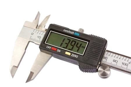 vernier caliper: A close up vernier caliper isolated on white background Stock Photo