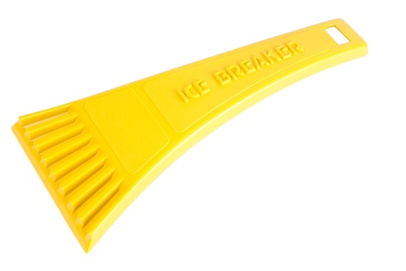 Yellow ice scraper / breaker for cars isolated on white  Stock Photo