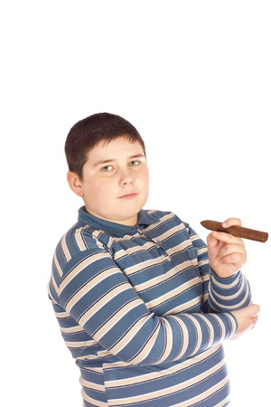 Child with a cigar in his hand over white background Stock Photo - 9221886