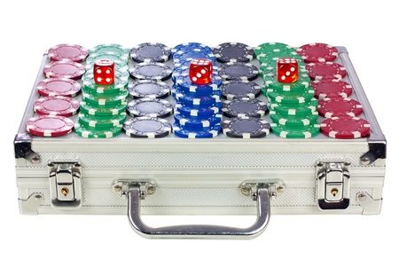 Poker chips and three dice over poker suitcase photo