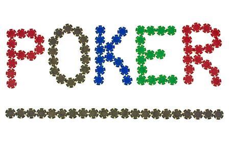 Letters made &acirc,%uFFFD%uFFFD&acirc,%uFFFD%uFFFDof poker chips photo