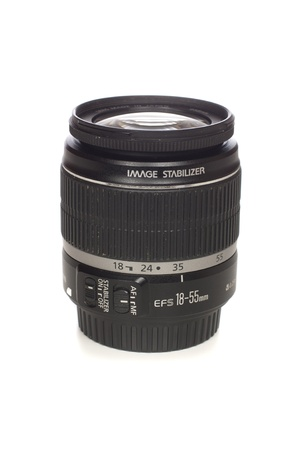 stabilizer: Classic lens 18-55 with image stabilizer for digital cameras, isolated over white background.
