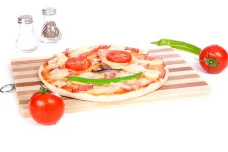 Pizza smiling on cutting board isolated over white background photo