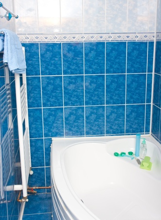 Modern bathroom with blue tiles,  bathtub and radiator Stock Photo - 9551376