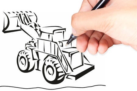 Hand isolated on white with clipping path  drawing a excavator Stock Photo - 9551280