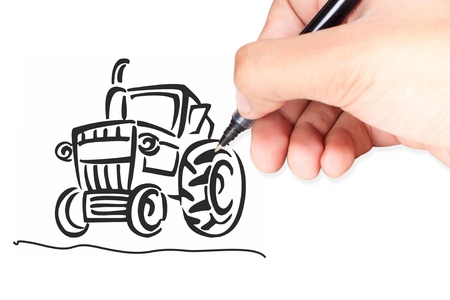 Hand isolated on white with clipping path  drawing a tractor photo