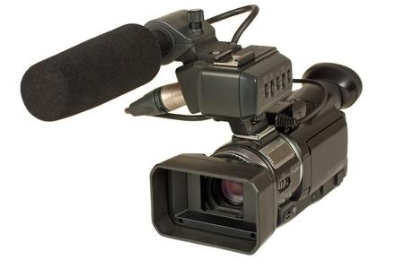 고화질 비디오 카메라 흰색 배경 위에 절연