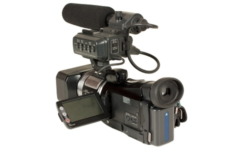 definition high: High definition video camera isolated over white background Stock Photo