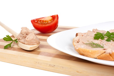 Bread with pate, isolated over white background Stock Photo