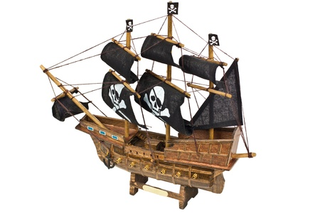 replica: Miniature wooden model of a pirates ship isolated on white background Stock Photo