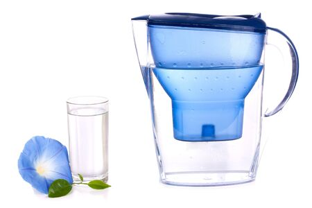 Water filter and a glass over white background Stock Photo