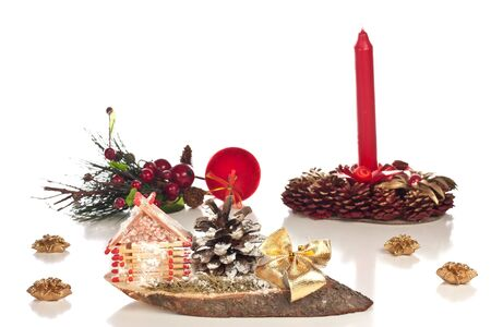 Different christmas decoration on a white background photo